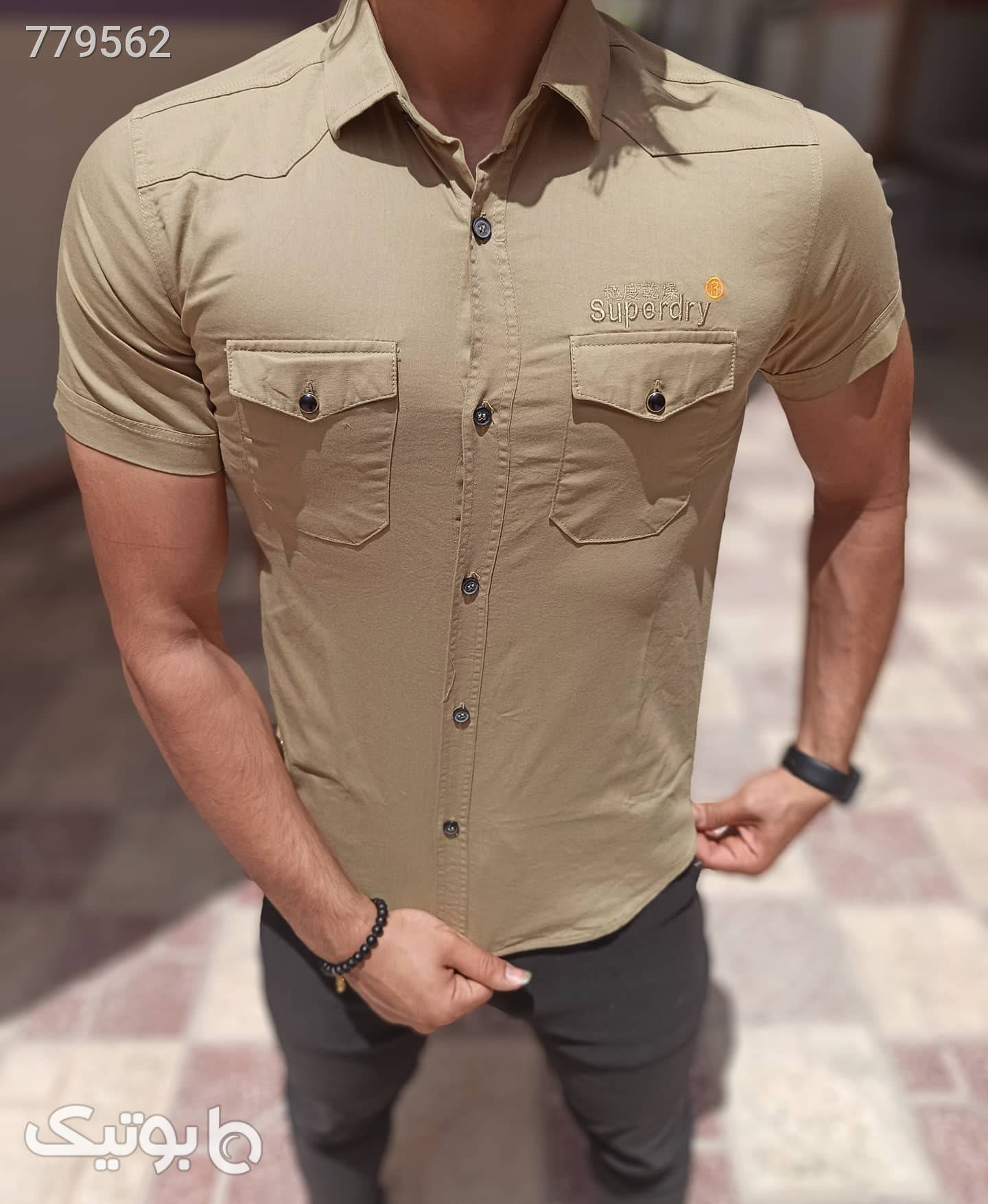 پیراهن کتان کش مردانه  کرم پيراهن مردانه