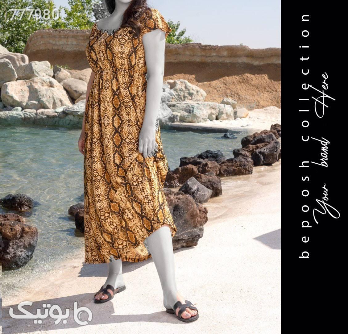 پیراهن ساحلی قهوه ای پيراهن و سارافون زنانه