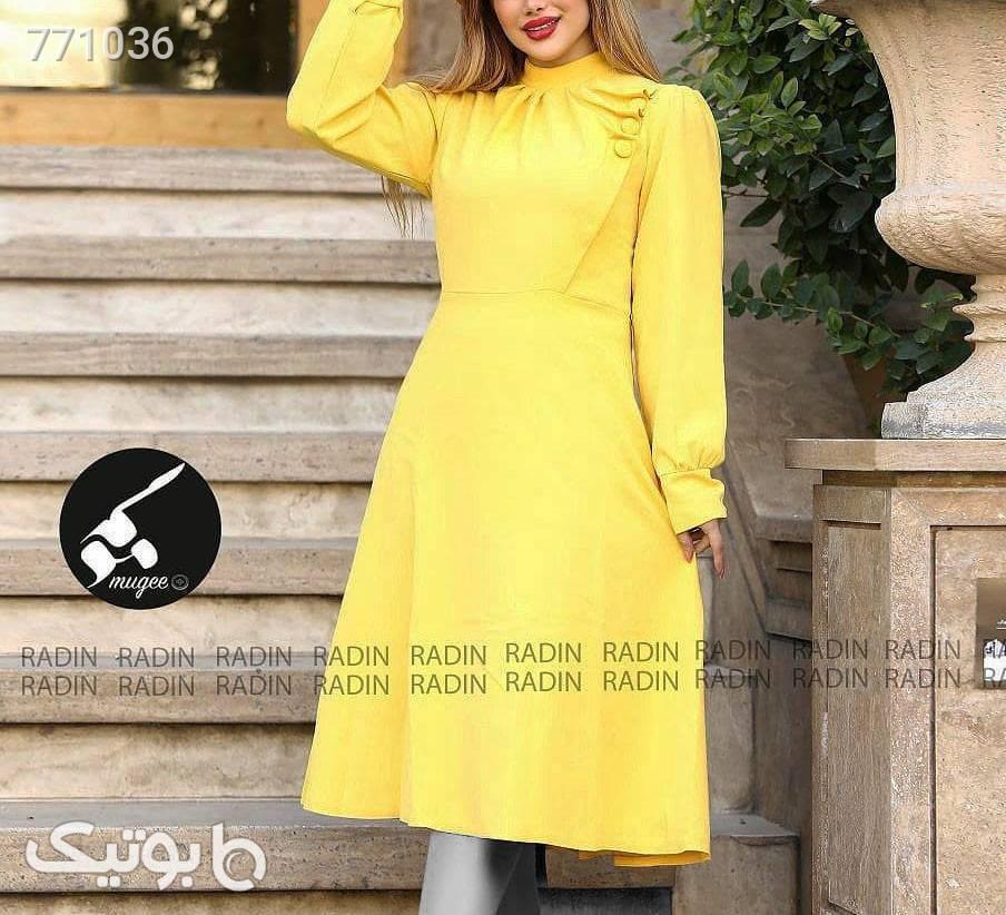 پیراهن طرح هوزان زرد پيراهن و سارافون زنانه
