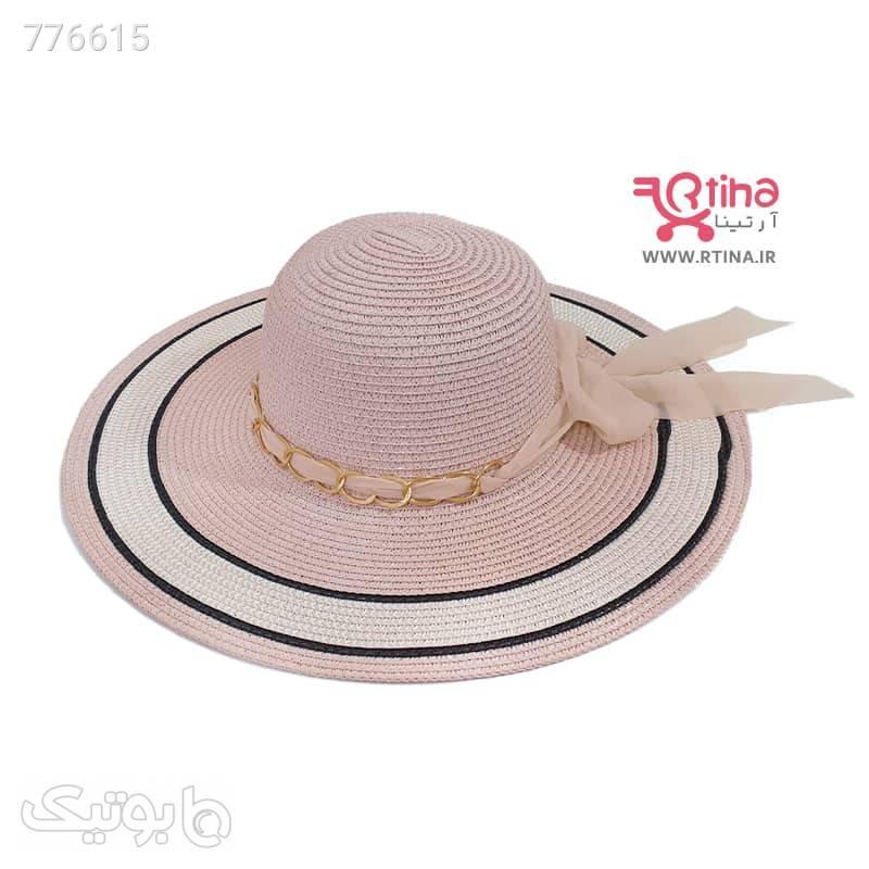 کلاه دور گرد و لبه پهن ساحلی زنجیر دار کرم کلاه و اسکارف