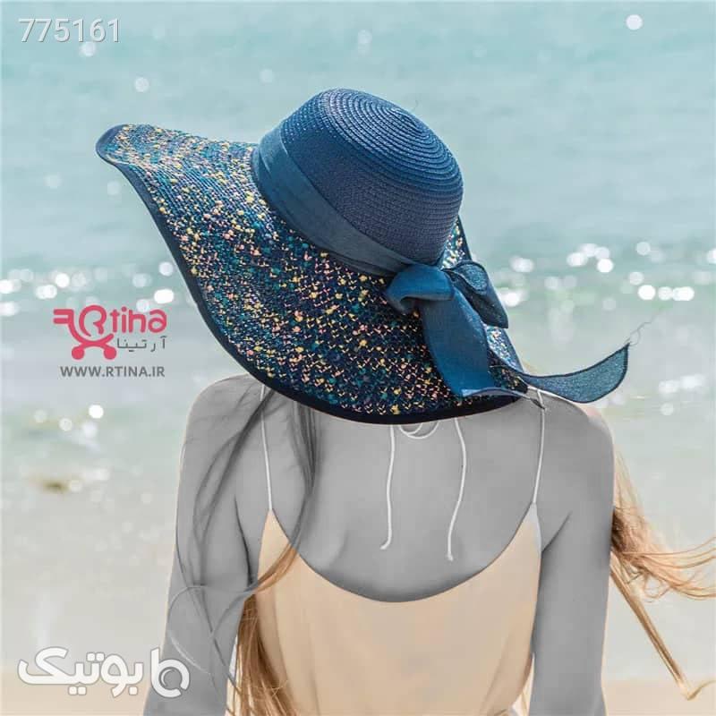 کلاه ساحلی دخترانه و زنانه لبه بلند و پاپیون دار کرم کلاه و اسکارف