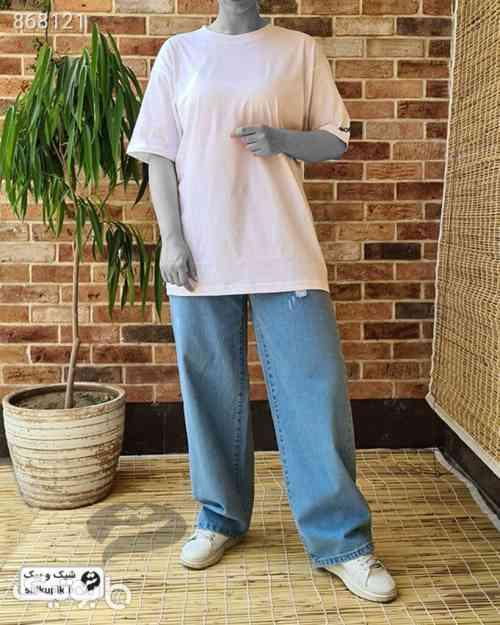 تیشرت لانگ ساده سفید - تی شرت زنانه