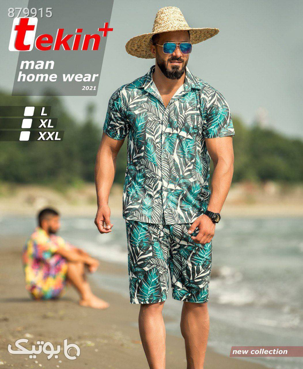 بلوز شلوارک هاوایی جیب دار مردانه تکین سبز بلوز
