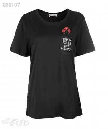 تیشرت یقه گرد زنانه جامه پوش آرا JPA کد 4012019474 مشکی تی شرت زنانه