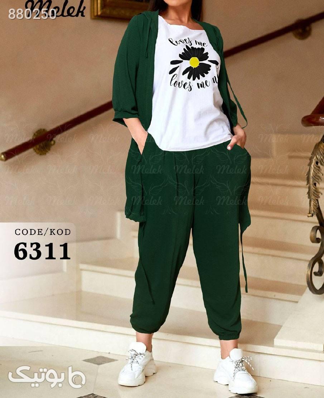 بلوز وشلوار سبز سایز بزرگ زنانه