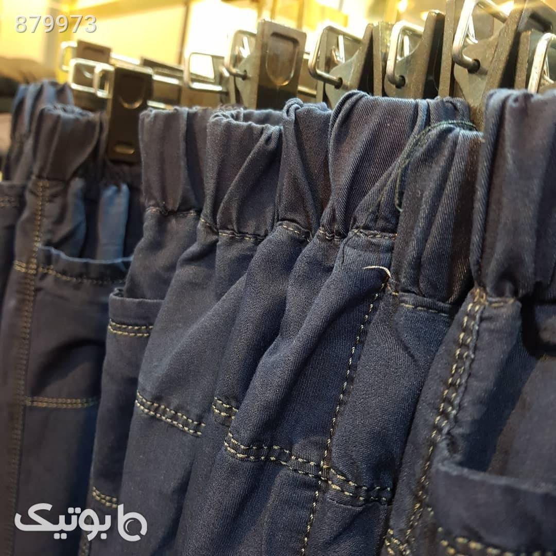 شلوار طرح جین سورمه ای سایز بزرگ زنانه