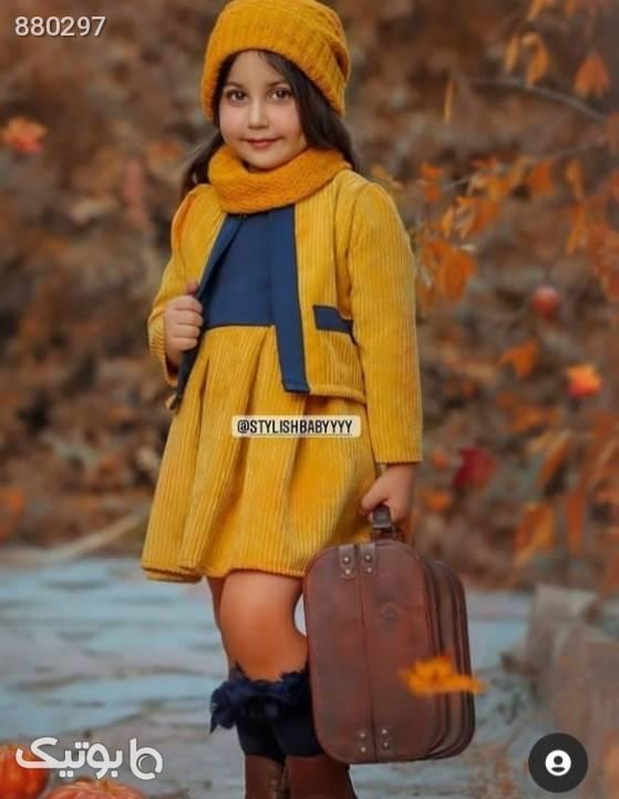 ست پاییزی شیک زرد لباس کودک دخترانه