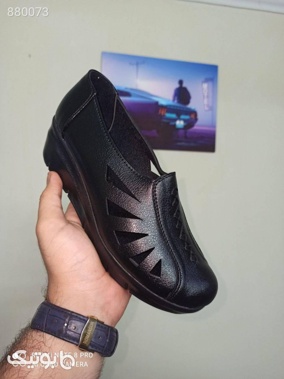 کفش زیره پیو بافتی ۶سانت فوقالعاده راحت مشکی كفش پاشنه بلند زنانه