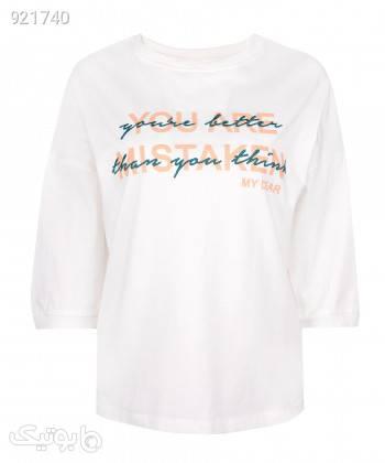 تیشرت آستین سه ربع زنانه جین وست Jeanswest کد 03272503 سفید تی شرت زنانه