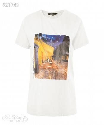 تیشرت یقه گرد زنانه جوتی جینز JootiJeans کد 11773013 سفید تی شرت زنانه