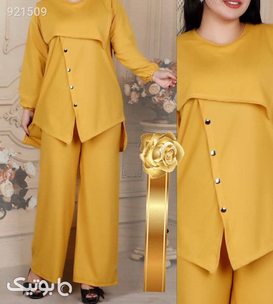 ست تونیک و شلوار زنانه زرد لباس راحتی زنانه