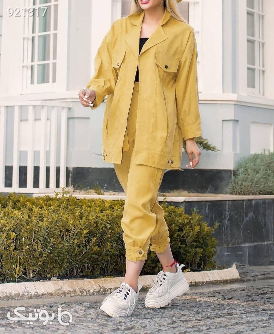 ست مانتو شلوار پاییزه جنس میکرو زرد مانتو