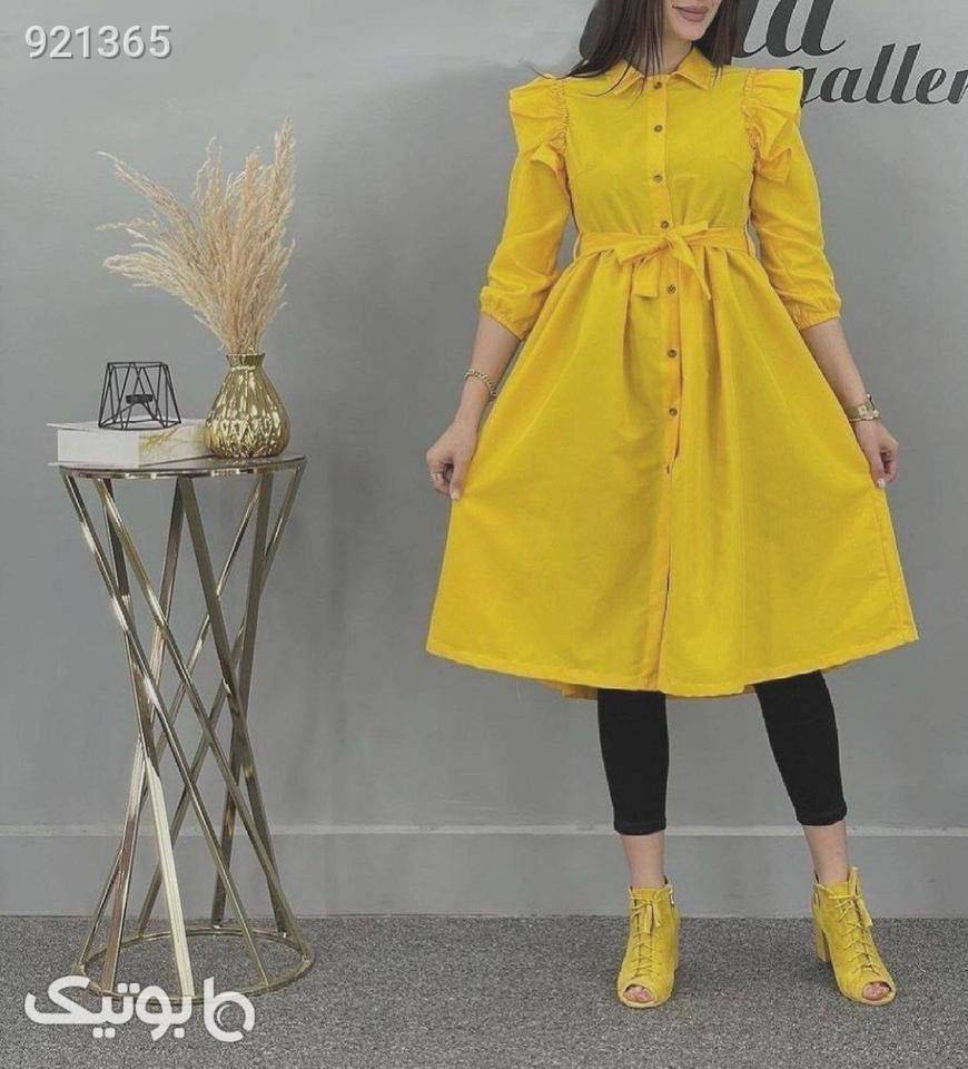مانتو پائیزه عروسکی بلند زرد
