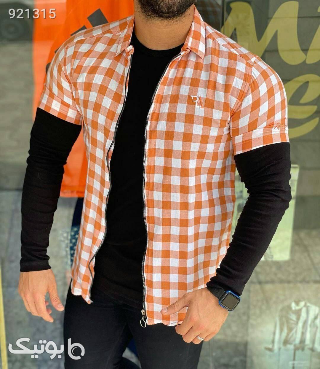 پیراهن استین کوتاه زیپدار مردانه شیک قرمز پيراهن مردانه
