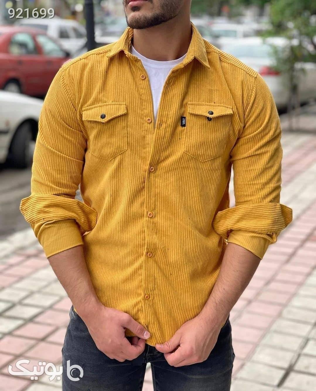 پیراهن مخمل کبریتی مردانه  زرد پيراهن مردانه