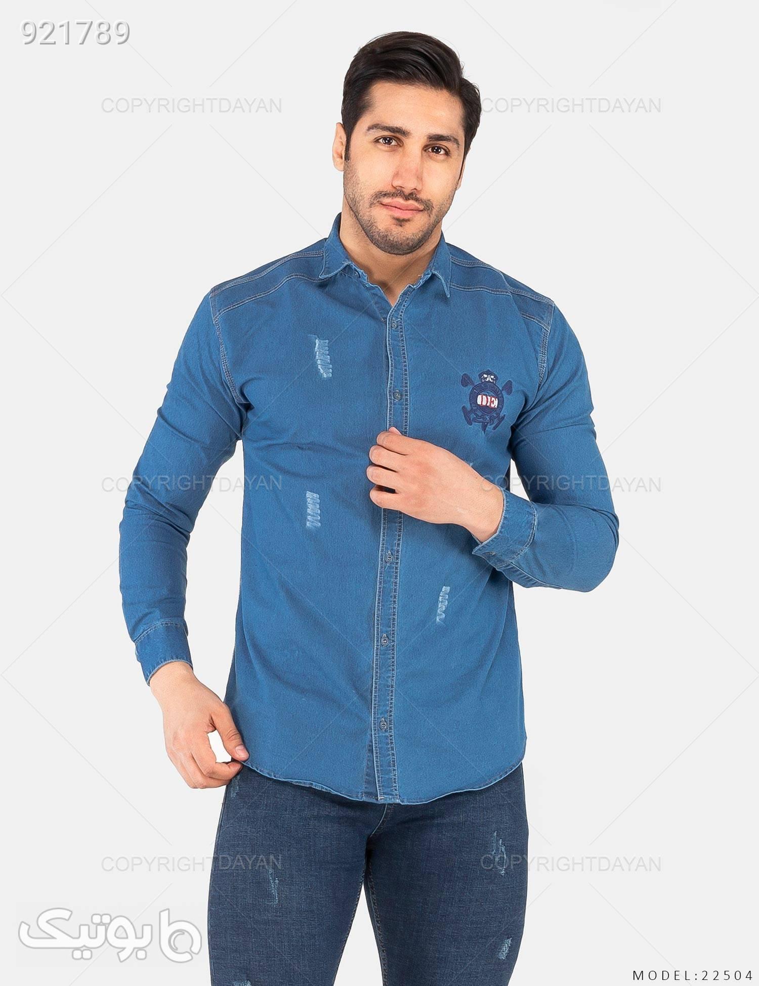 پیراهن مردانه Deniz مدل 22504 آبی پيراهن مردانه