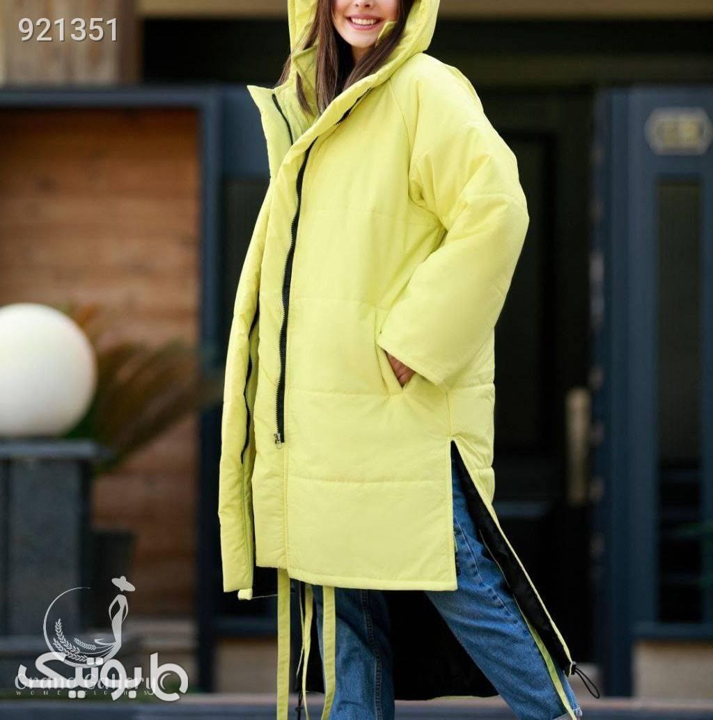 کاپشن کلاه دار گرممممم زرد کاپشن و بارانی زنانه
