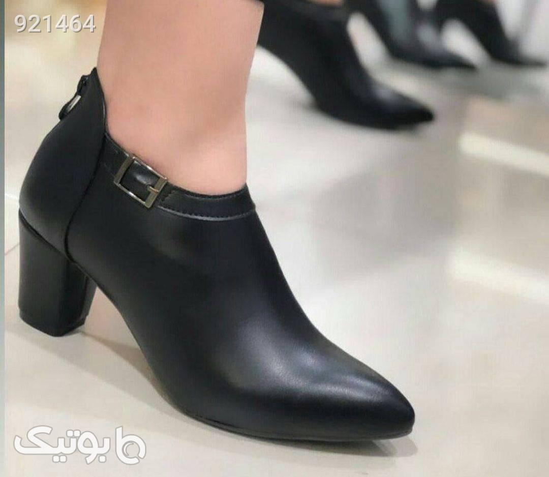 کفش زنونه چرم شیک مشکی كفش پاشنه بلند زنانه