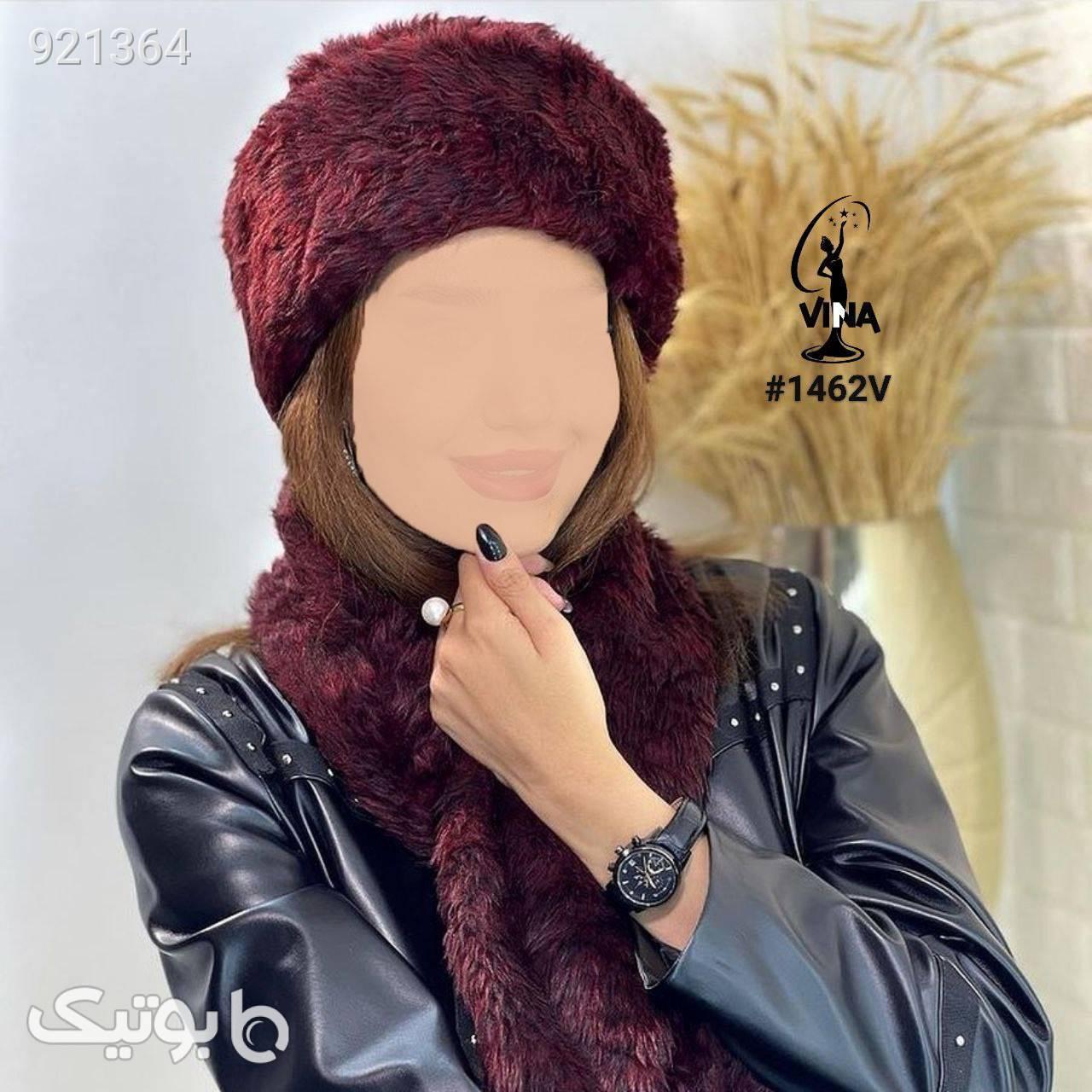 ست شال وکلاه روسی جدیددخترونه پرفروش زرشکی کلاه بافت و شال گردن و دستکش